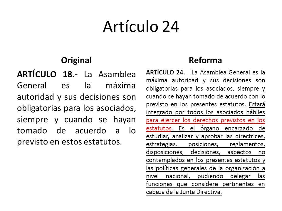 Artículo 24 Original ARTÍCULO 18.- La Asamblea General es la máxima autoridad y sus decisiones son obligatorias para los asociados, siempre y cuando se hayan tomado de acuerdo a lo previsto en estos estatutos.