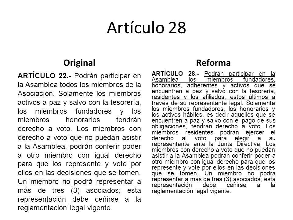 Artículo 28 Original ARTÍCULO 22.- Podrán participar en la Asamblea todos los miembros de la Asociación.