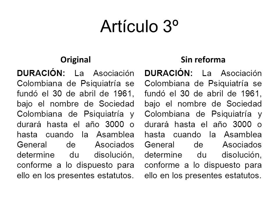 Artículo 3º Original DURACIÓN: La Asociación Colombiana de Psiquiatría se fundó el 30 de abril de 1961, bajo el nombre de Sociedad Colombiana de Psiquiatría y durará hasta el año 3000 o hasta cuando la Asamblea General de Asociados determine du disolución, conforme a lo dispuesto para ello en los presentes estatutos.