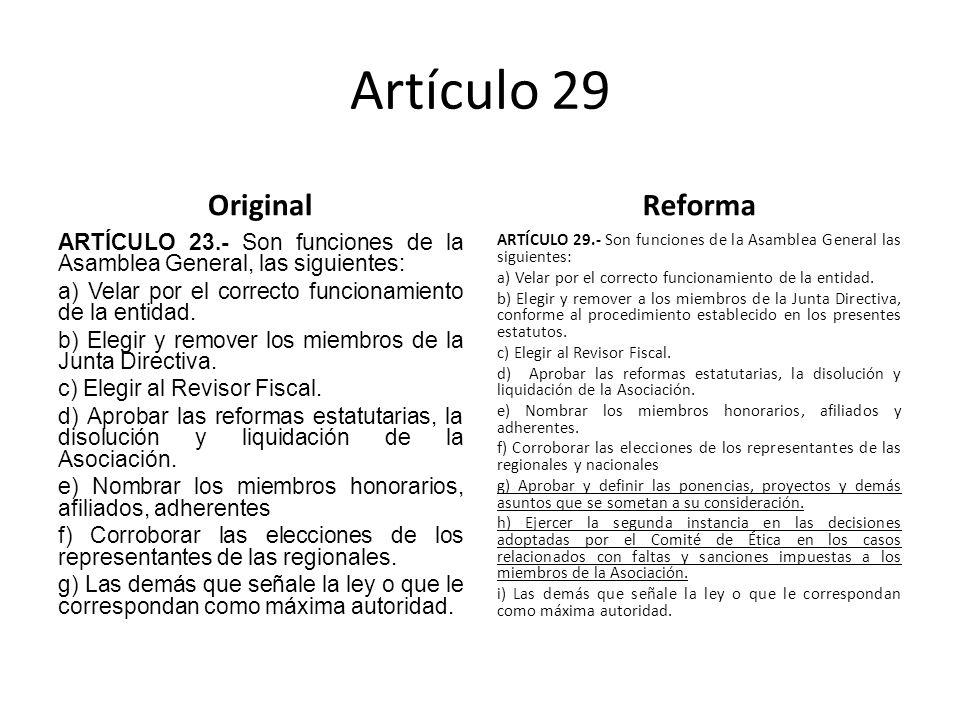 Artículo 29 Original ARTÍCULO 23.- Son funciones de la Asamblea General, las siguientes: a) Velar por el correcto funcionamiento de la entidad.