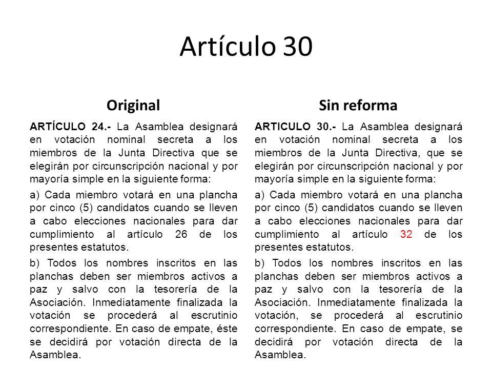 Artículo 30 Original ARTÍCULO 24.- La Asamblea designará en votación nominal secreta a los miembros de la Junta Directiva que se elegirán por circunscripción nacional y por mayoría simple en la siguiente forma: a) Cada miembro votará en una plancha por cinco (5) candidatos cuando se lleven a cabo elecciones nacionales para dar cumplimiento al artículo 26 de los presentes estatutos.