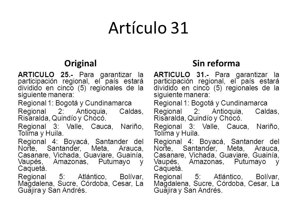 Artículo 31 Original ARTICULO 25.- Para garantizar la participación regional, el país estará dividido en cinco (5) regionales de la siguiente manera: Regional 1: Bogotá y Cundinamarca Regional 2: Antioquia, Caldas, Risaralda, Quindío y Chocó.