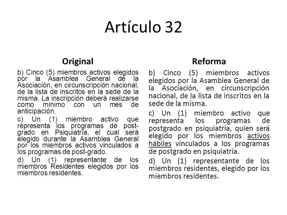 Artículo 32 Original b) Cinco (5) miembros activos elegidos por la Asamblea General de la Asociación, en circunscripción nacional, de la lista de inscritos en la sede de la misma.