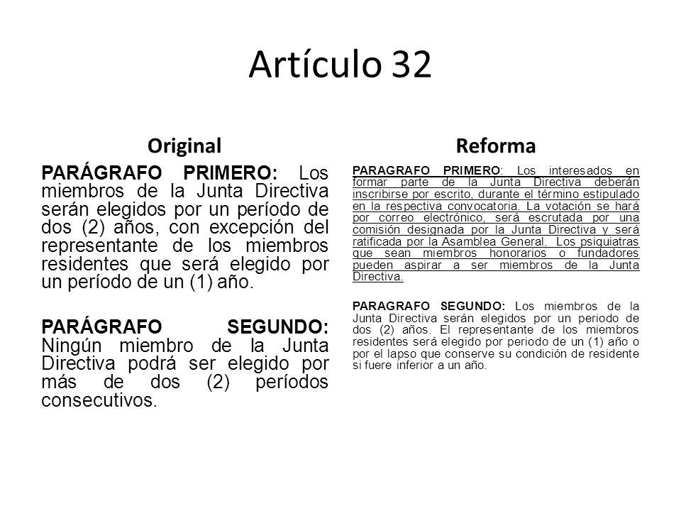 Artículo 32 Original PARÁGRAFO PRIMERO: Los miembros de la Junta Directiva serán elegidos por un período de dos (2) años, con excepción del representante de los miembros residentes que será elegido por un período de un (1) año.