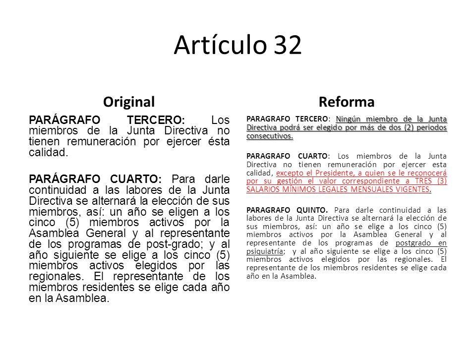 Artículo 32 Original PARÁGRAFO TERCERO: Los miembros de la Junta Directiva no tienen remuneración por ejercer ésta calidad.