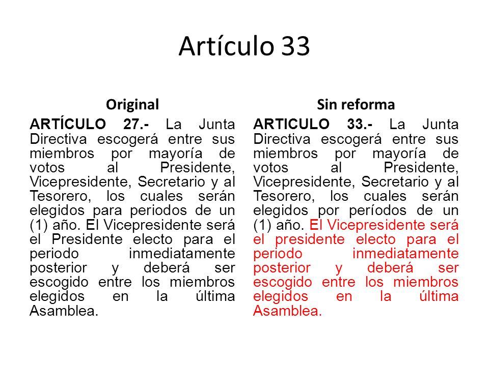Artículo 33 Original ARTÍCULO 27.- La Junta Directiva escogerá entre sus miembros por mayoría de votos al Presidente, Vicepresidente, Secretario y al Tesorero, los cuales serán elegidos para periodos de un (1) año.
