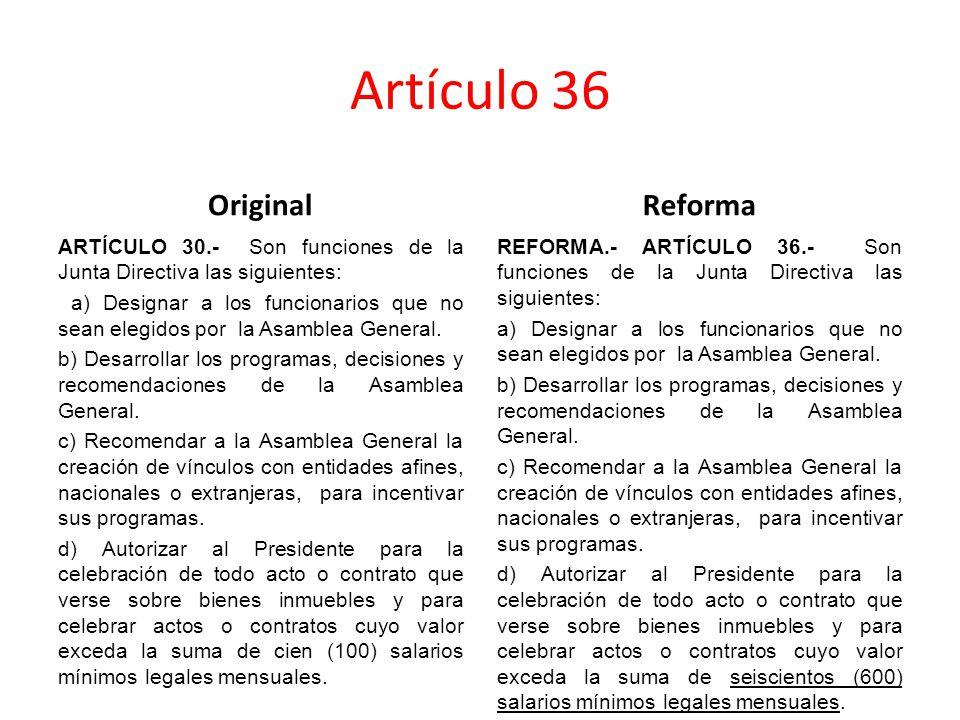 Artículo 36 Original ARTÍCULO 30.- Son funciones de la Junta Directiva las siguientes: a) Designar a los funcionarios que no sean elegidos por la Asamblea General.