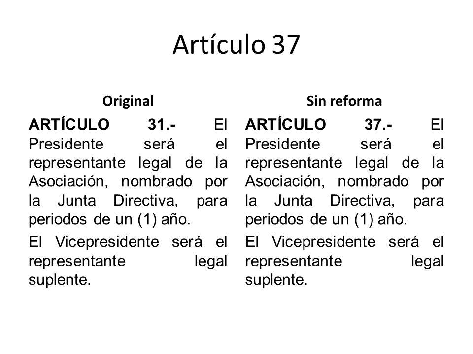 Artículo 37 Original ARTÍCULO 31.- El Presidente será el representante legal de la Asociación, nombrado por la Junta Directiva, para periodos de un (1) año.