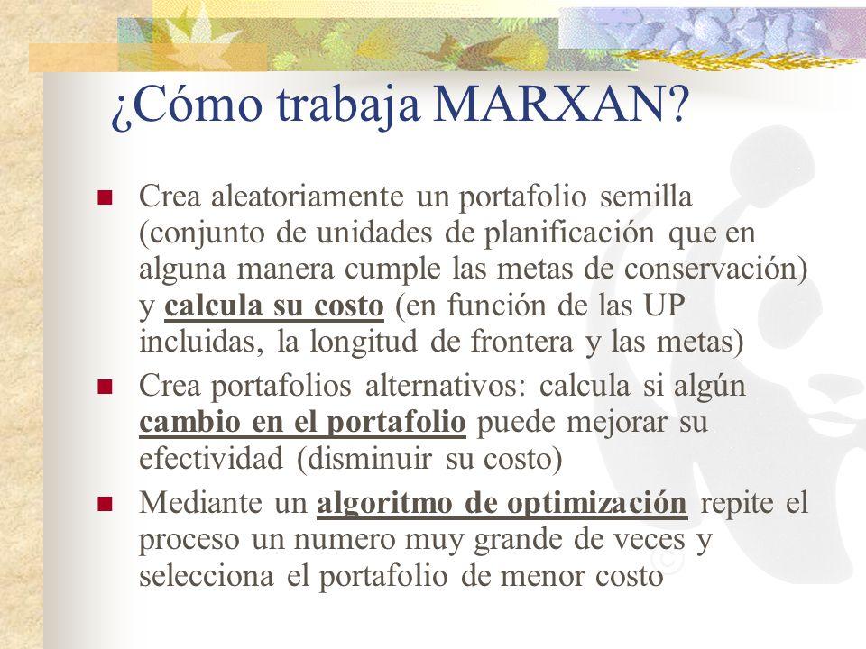 ¿Cómo trabaja MARXAN? Crea aleatoriamente un portafolio semilla (conjunto de unidades de planificación que en alguna manera cumple las metas de conser