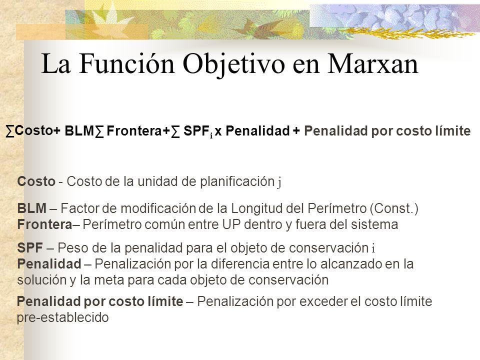 La Función Objetivo en Marxan Costo Costo - Costo de la unidad de planificación j BLM – Factor de modificación de la Longitud del Perímetro (Const.) F