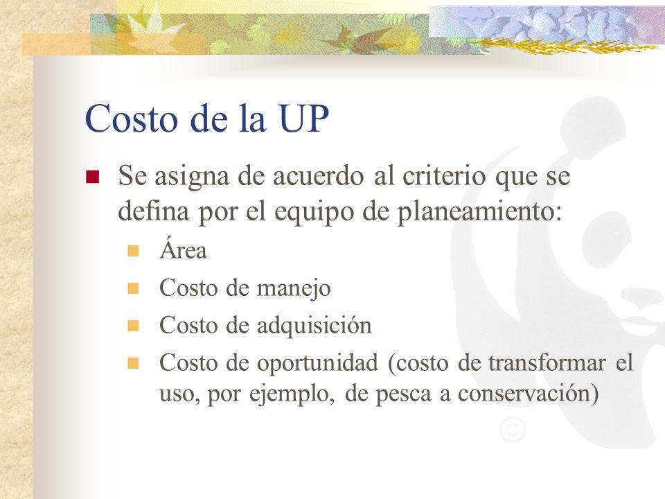 Costo de la UP Se asigna de acuerdo al criterio que se defina por el equipo de planeamiento: Área Costo de manejo Costo de adquisición Costo de oportu