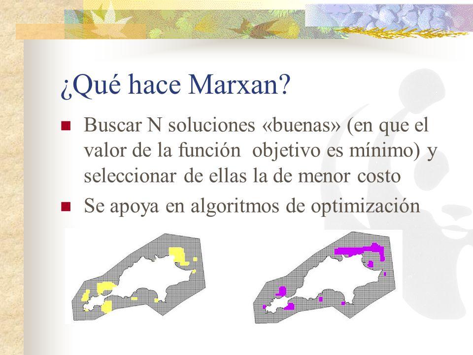 ¿Qué hace Marxan? Buscar N soluciones «buenas» (en que el valor de la función objetivo es mínimo) y seleccionar de ellas la de menor costo Se apoya en
