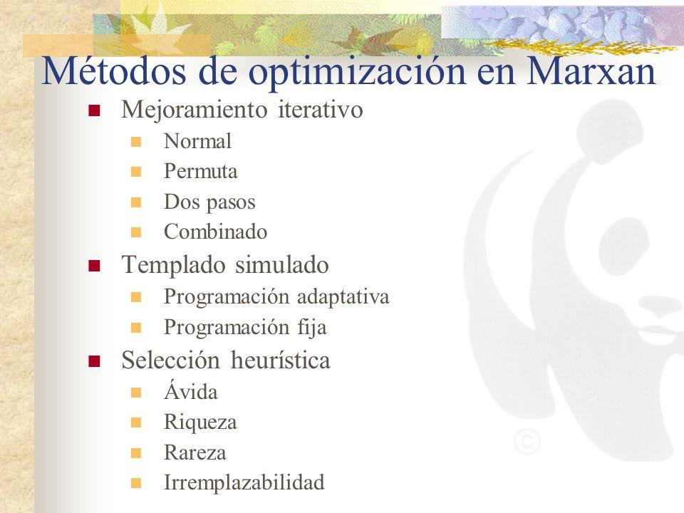 Métodos de optimización en Marxan Mejoramiento iterativo Normal Permuta Dos pasos Combinado Templado simulado Programación adaptativa Programación fij