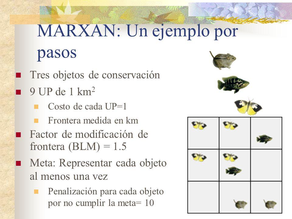 MARXAN: Un ejemplo por pasos Tres objetos de conservación Factor de modificación de frontera (BLM) = 1.5 Meta: Representar cada objeto al menos una ve