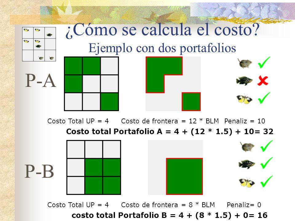 ¿Cómo se calcula el costo? Ejemplo con dos portafolios Costo Total UP = 4Costo de frontera = 12 * BLMPenaliz = 10 Costo total Portafolio A = 4 + (12 *