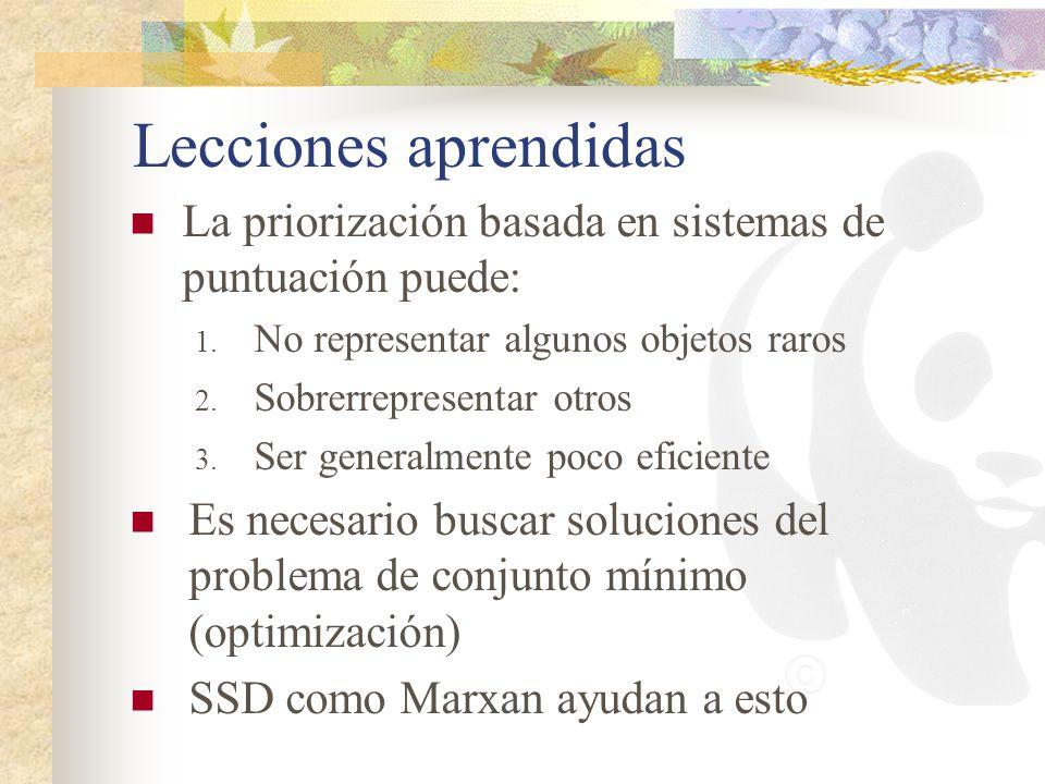 Lecciones aprendidas La priorización basada en sistemas de puntuación puede: 1. No representar algunos objetos raros 2. Sobrerrepresentar otros 3. Ser
