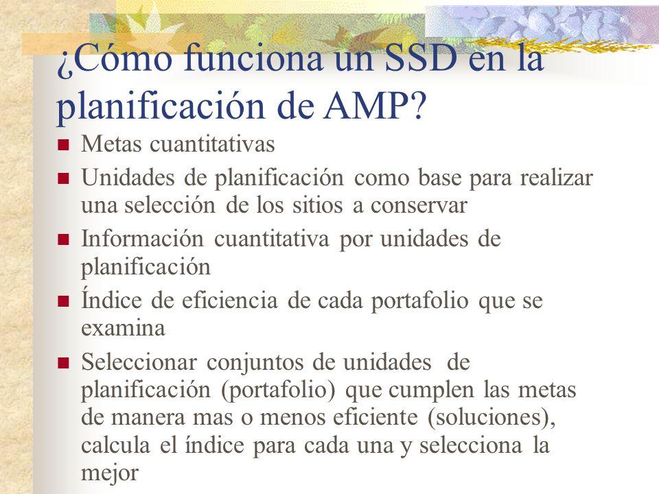 ¿Cómo funciona un SSD en la planificación de AMP? Metas cuantitativas Unidades de planificación como base para realizar una selección de los sitios a