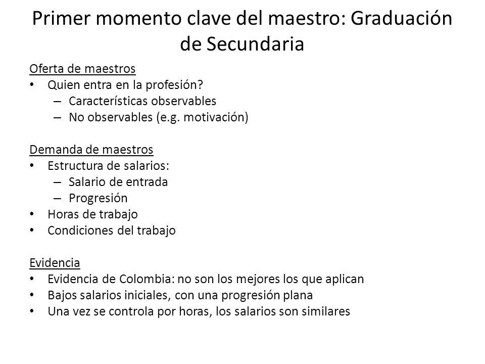 Primer momento clave del maestro: Graduación de Secundaria Oferta de maestros Quien entra en la profesión.