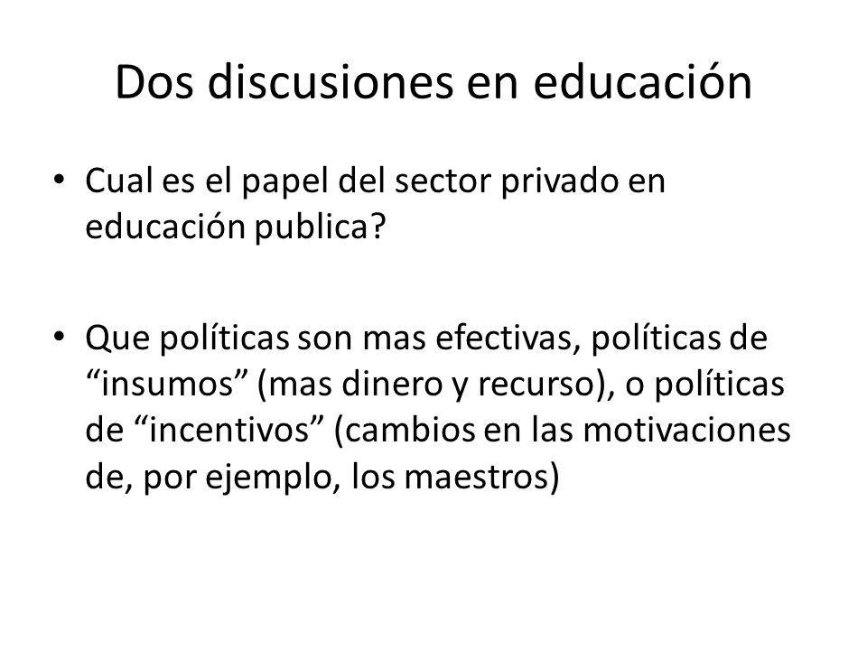 Dos discusiones en educación Cual es el papel del sector privado en educación publica.