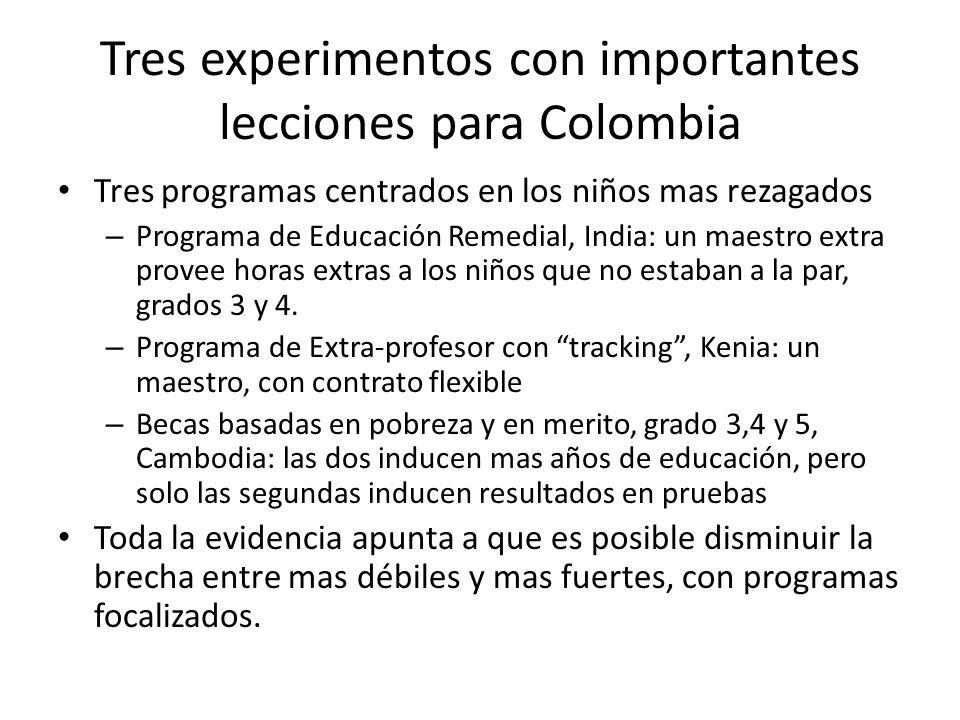 Tres experimentos con importantes lecciones para Colombia Tres programas centrados en los niños mas rezagados – Programa de Educación Remedial, India: un maestro extra provee horas extras a los niños que no estaban a la par, grados 3 y 4.