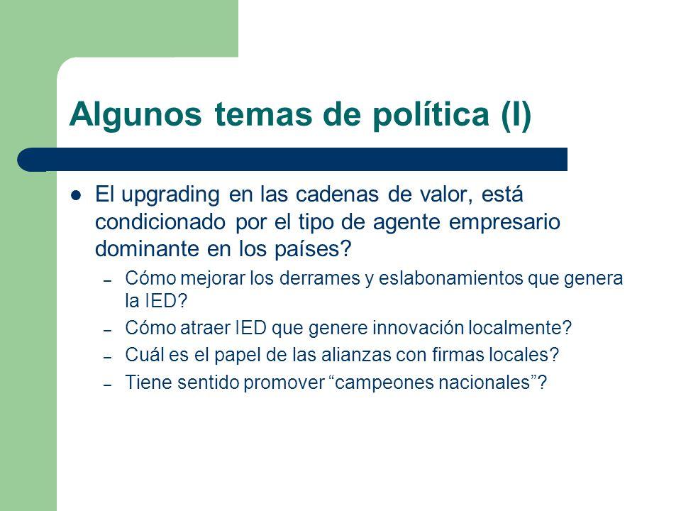 Algunos temas de política (II) Dónde están los principales obstáculos a la diversificación y el upgrading.