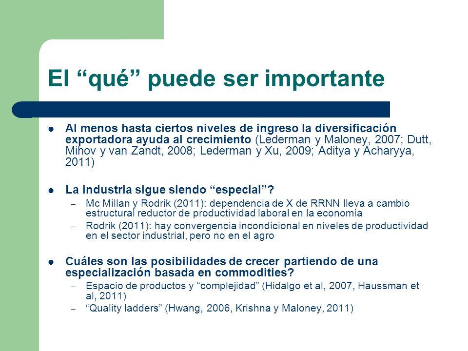 El qué puede ser importante Al menos hasta ciertos niveles de ingreso la diversificación exportadora ayuda al crecimiento (Lederman y Maloney, 2007; D