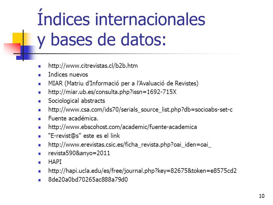 Índices internacionales y bases de datos: http://www.citrevistas.cl/b2b.htm Indices nuevos MIAR (Matriu dInformació per a lAvaluació de Revistes) http