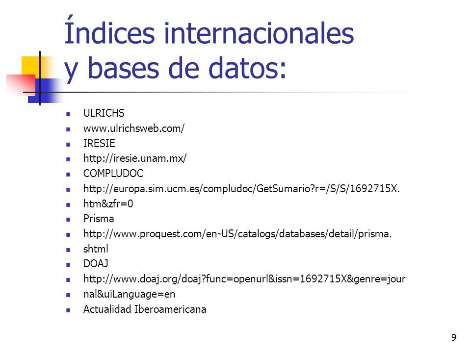 Índices internacionales y bases de datos: http://www.citrevistas.cl/b2b.htm Indices nuevos MIAR (Matriu dInformació per a lAvaluació de Revistes) http://miar.ub.es/consulta.php?issn=1692-715X Sociological abstracts http://www.csa.com/ids70/serials_source_list.php?db=socioabs-set-c Fuente académica.