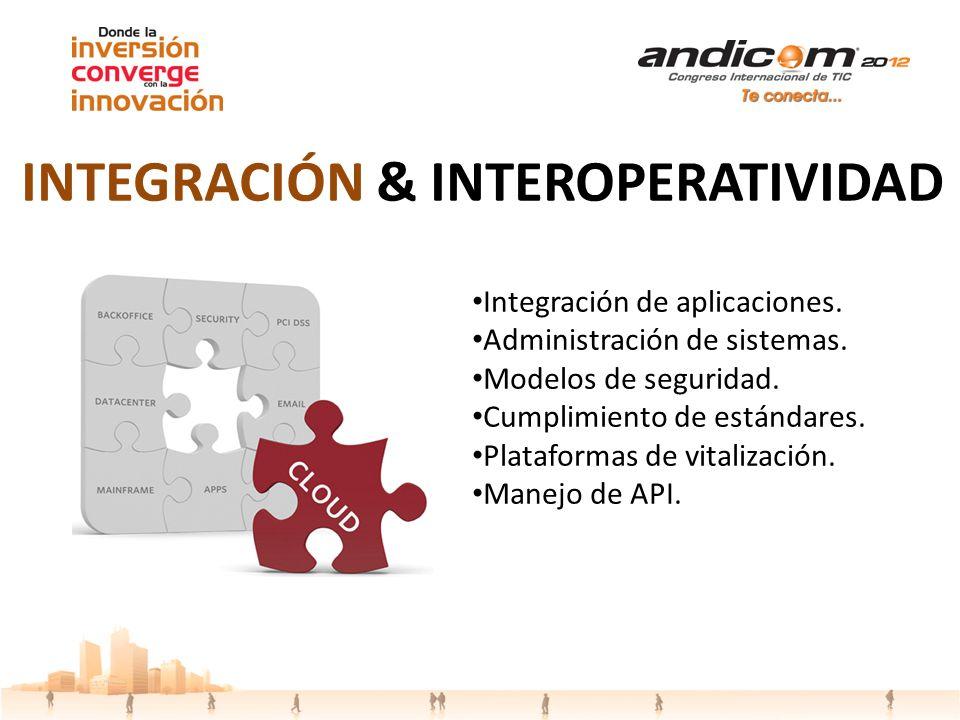 Integración de aplicaciones. Administración de sistemas. Modelos de seguridad. Cumplimiento de estándares. Plataformas de vitalización. Manejo de API.
