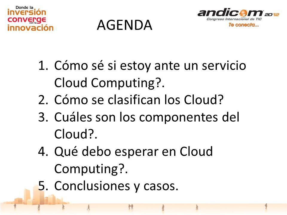 1.Cómo sé si estoy ante un servicio Cloud Computing?. 2.Cómo se clasifican los Cloud? 3.Cuáles son los componentes del Cloud?. 4.Qué debo esperar en C