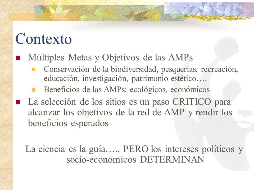 Contexto Múltiples Metas y Objetivos de las AMPs Conservación de la biodiversidad, pesquerías, recreación, educación, investigación, patrimonio estéti