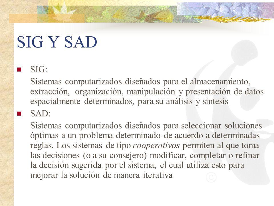 SIG Y SAD SIG: Sistemas computarizados diseñados para el almacenamiento, extracción, organización, manipulación y presentación de datos espacialmente