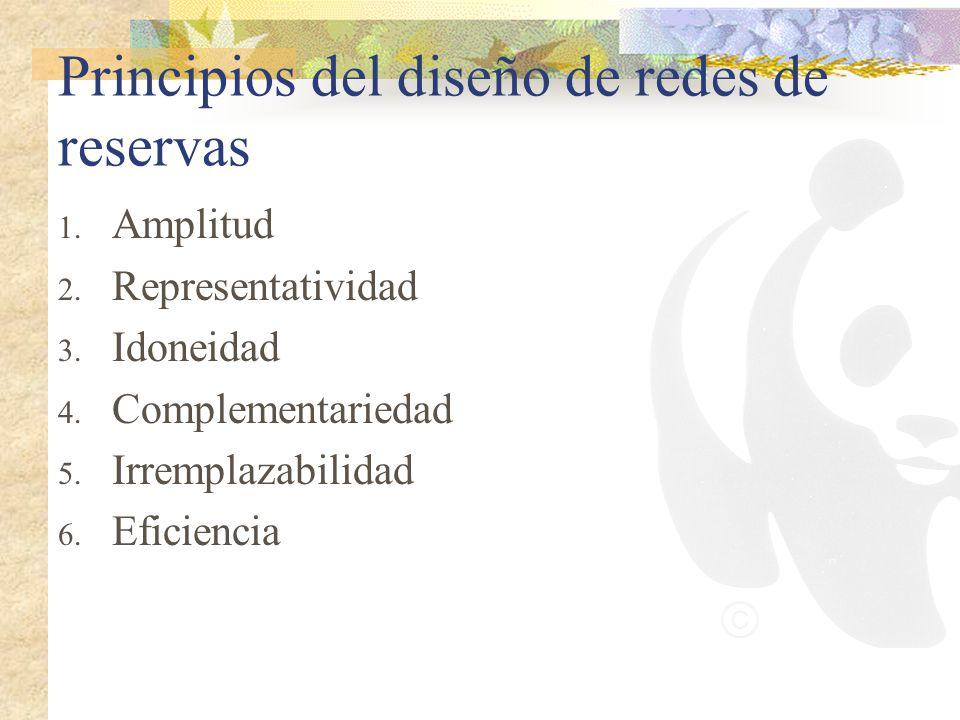 Principios del diseño de redes de reservas 1. Amplitud 2. Representatividad 3. Idoneidad 4. Complementariedad 5. Irremplazabilidad 6. Eficiencia