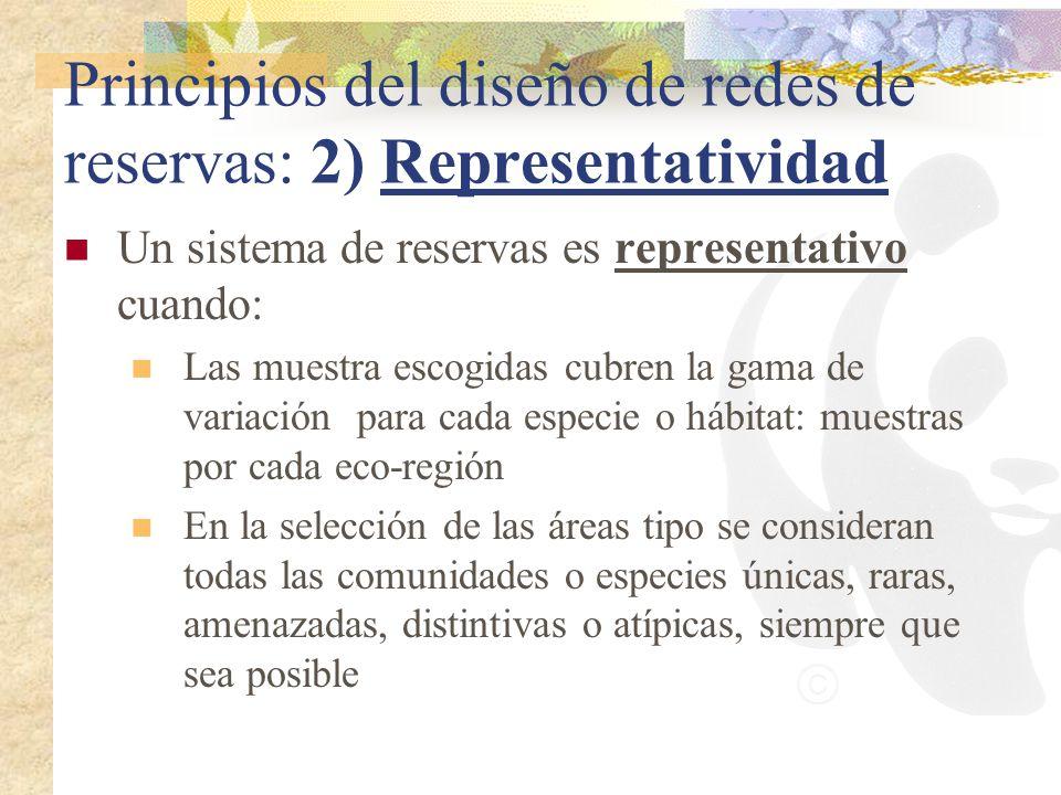 Principios del diseño de redes de reservas: 2) Representatividad Un sistema de reservas es representativo cuando: Las muestra escogidas cubren la gama