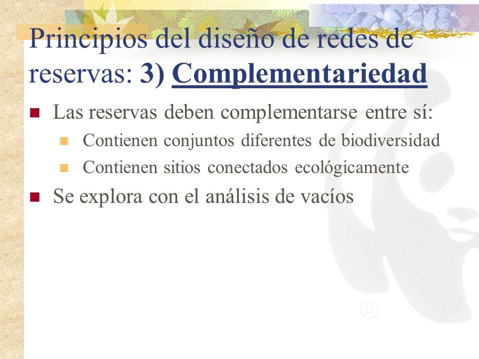 Principios del diseño de redes de reservas: 3) Complementariedad Las reservas deben complementarse entre sí: Contienen conjuntos diferentes de biodive