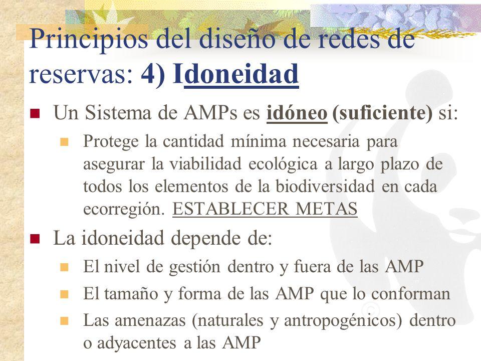 Principios del diseño de redes de reservas: 4) Idoneidad Un Sistema de AMPs es idóneo (suficiente) si: Protege la cantidad mínima necesaria para asegu