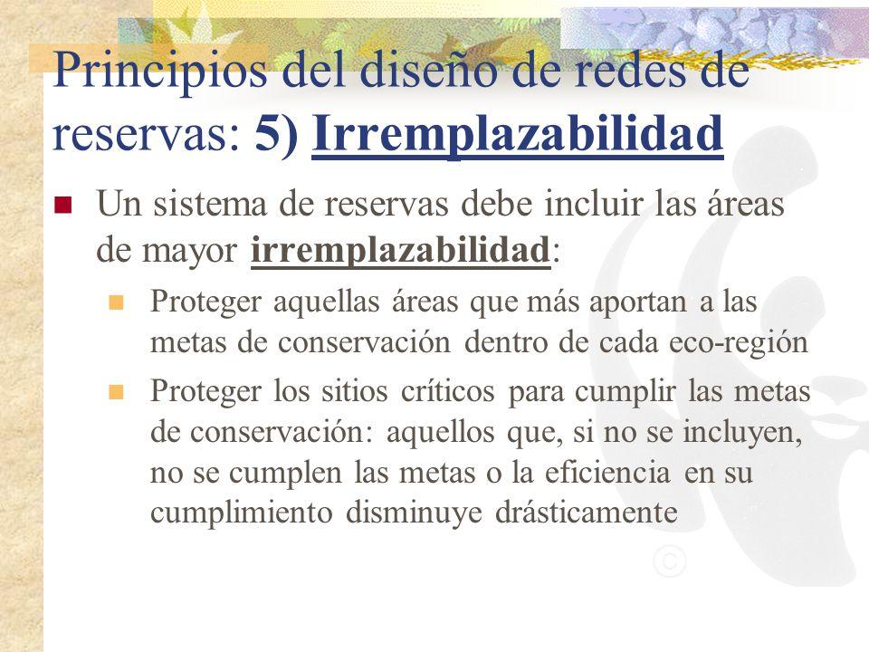 Principios del diseño de redes de reservas: 5) Irremplazabilidad Un sistema de reservas debe incluir las áreas de mayor irremplazabilidad: Proteger aq