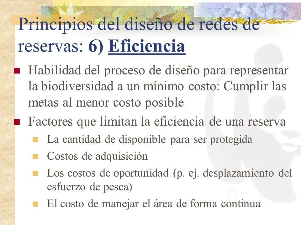 Principios del diseño de redes de reservas: 6) Eficiencia Habilidad del proceso de diseño para representar la biodiversidad a un mínimo costo: Cumplir
