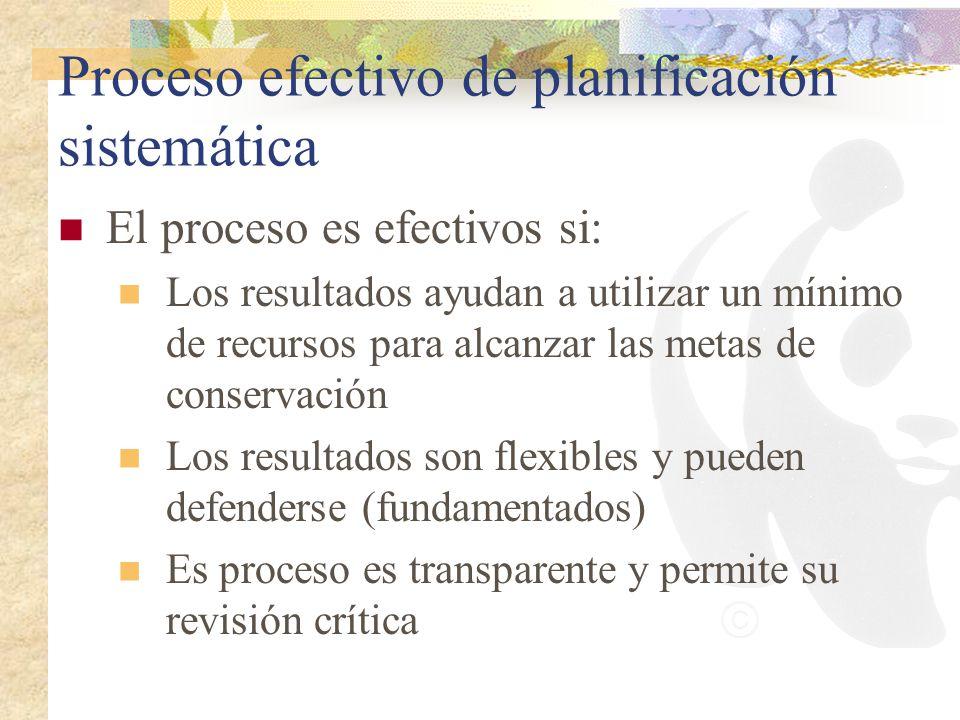 Proceso efectivo de planificación sistemática El proceso es efectivos si: Los resultados ayudan a utilizar un mínimo de recursos para alcanzar las met