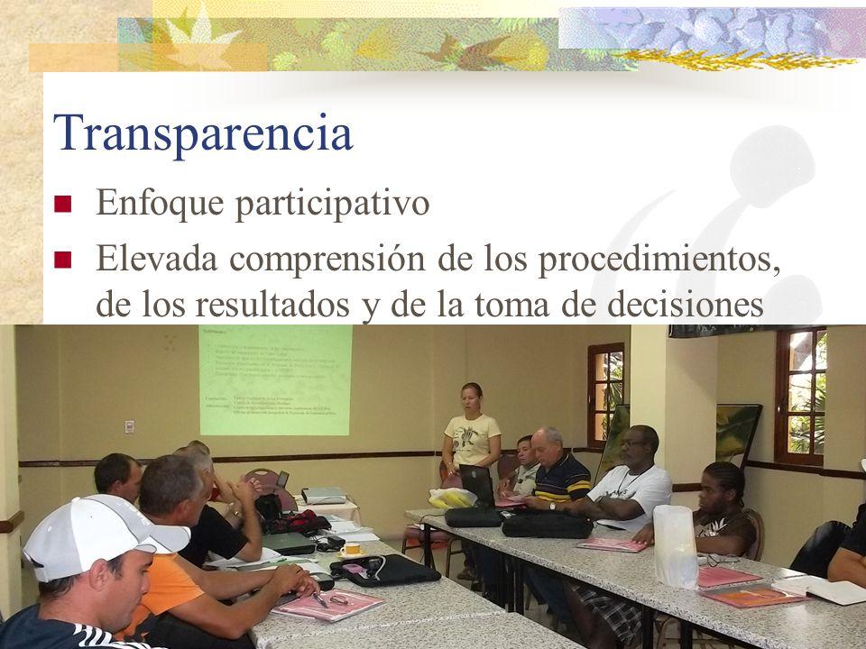 Transparencia Enfoque participativo Elevada comprensión de los procedimientos, de los resultados y de la toma de decisiones