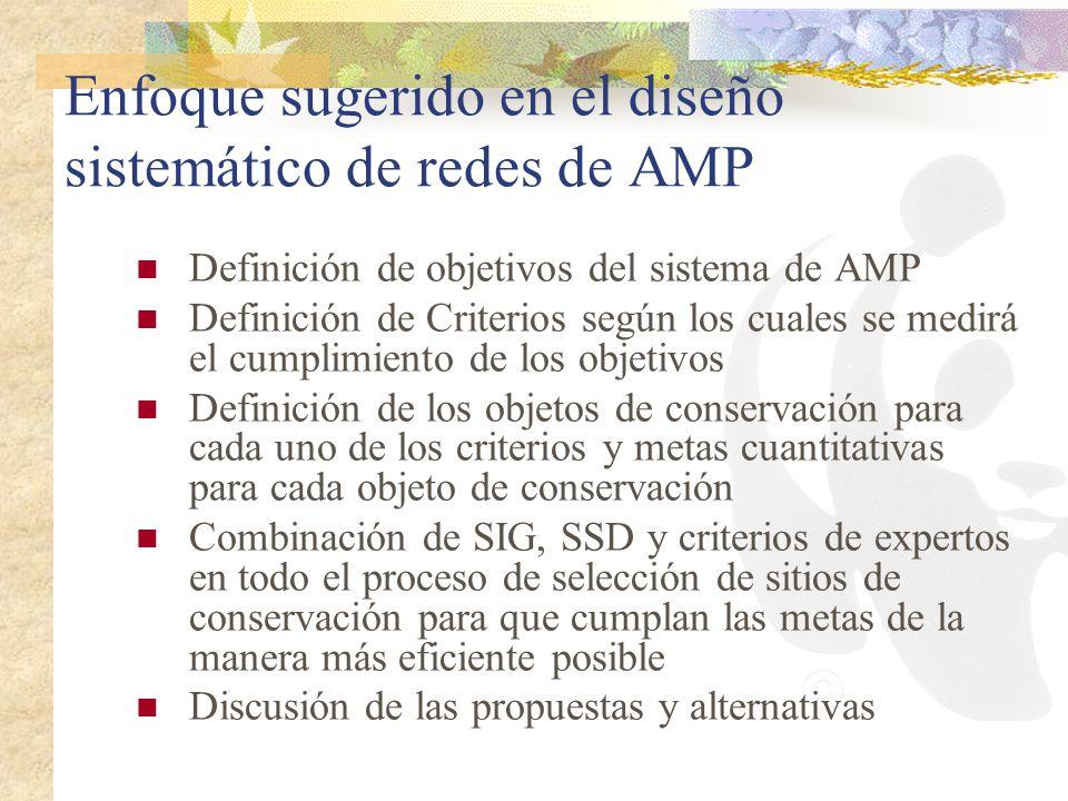 Enfoque sugerido en el diseño sistemático de redes de AMP Definición de objetivos del sistema de AMP Definición de Criterios según los cuales se medir