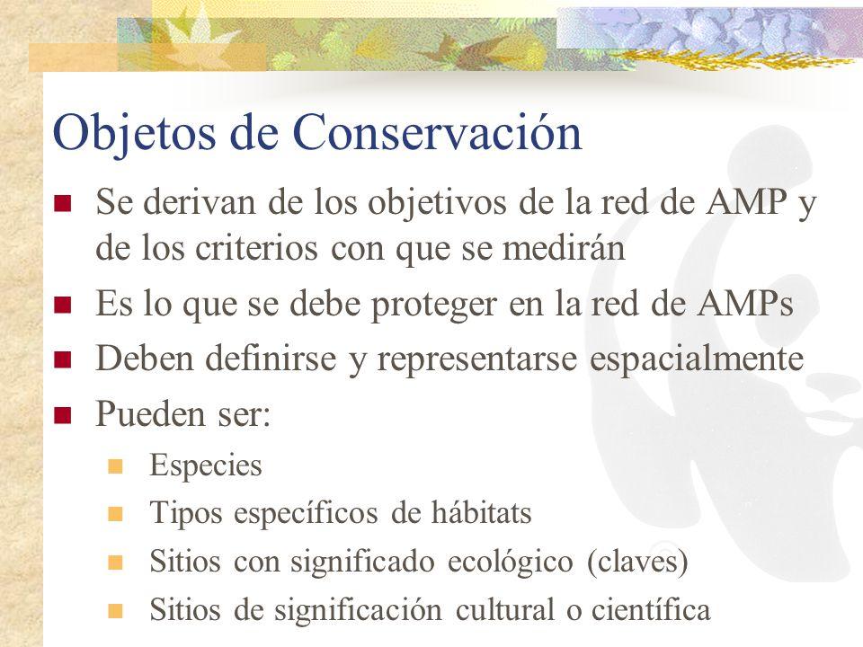 Objetos de Conservación Se derivan de los objetivos de la red de AMP y de los criterios con que se medirán Es lo que se debe proteger en la red de AMP