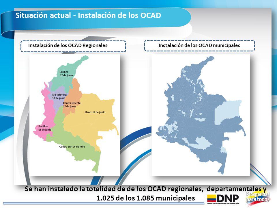 Situación actual - Instalación de los OCAD Instalación de los OCAD municipales Instalación de los OCAD Regionales Se han instalado la totalidad de de