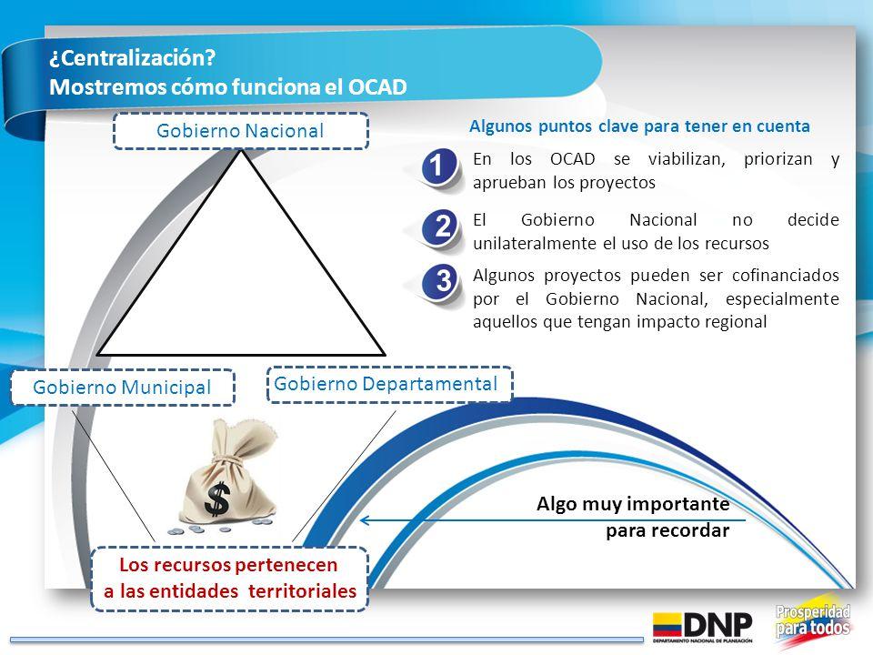 ¿Centralización? Mostremos cómo funciona el OCAD En los OCAD se viabilizan, priorizan y aprueban los proyectos Algunos puntos clave para tener en cuen