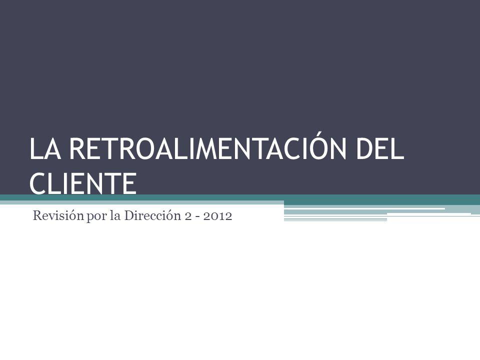 LA RETROALIMENTACIÓN DEL CLIENTE Revisión por la Dirección 2 - 2012