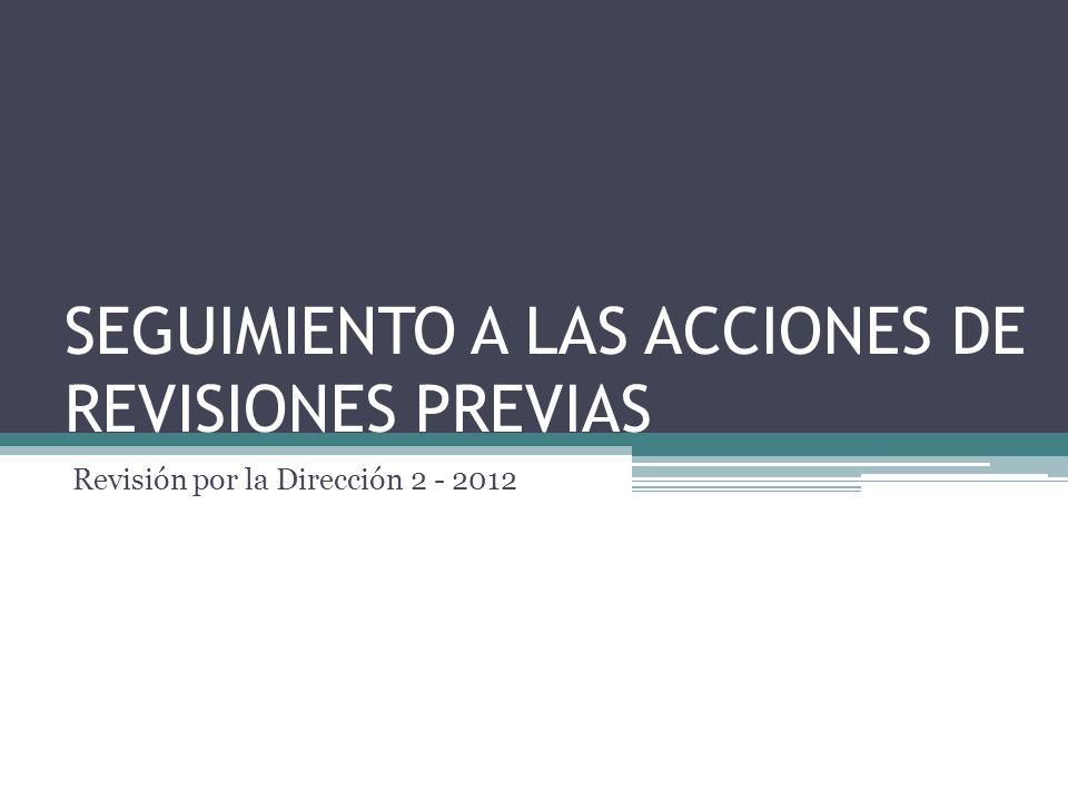 SEGUIMIENTO A LAS ACCIONES DE REVISIONES PREVIAS Revisión por la Dirección 2 - 2012