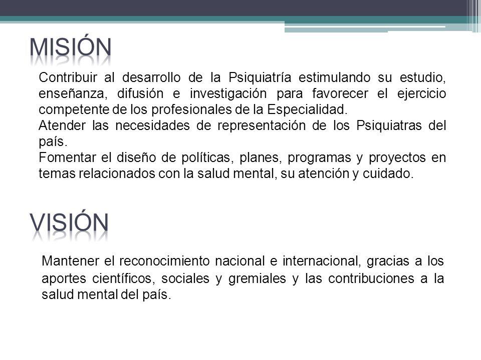 Análisis con base en los Estatutos y los requisitos de la norma ISO 9001:2008 La Asociación Colombiana de Psiquiatría está comprometida con el cumplimiento de sus estatutos, la satisfacción de sus Asociados, el entorno científico, el sector salud y la comunidad en general, y con el mejoramiento continuo de su gestión, estimulando el estudio, enseñanza, difusión e investigación en Psiquiatría, para contribuir al desarrollo profesional, académico y gremial de sus miembros, fomentar su responsabilidad social y contribuir a la salud mental del país.