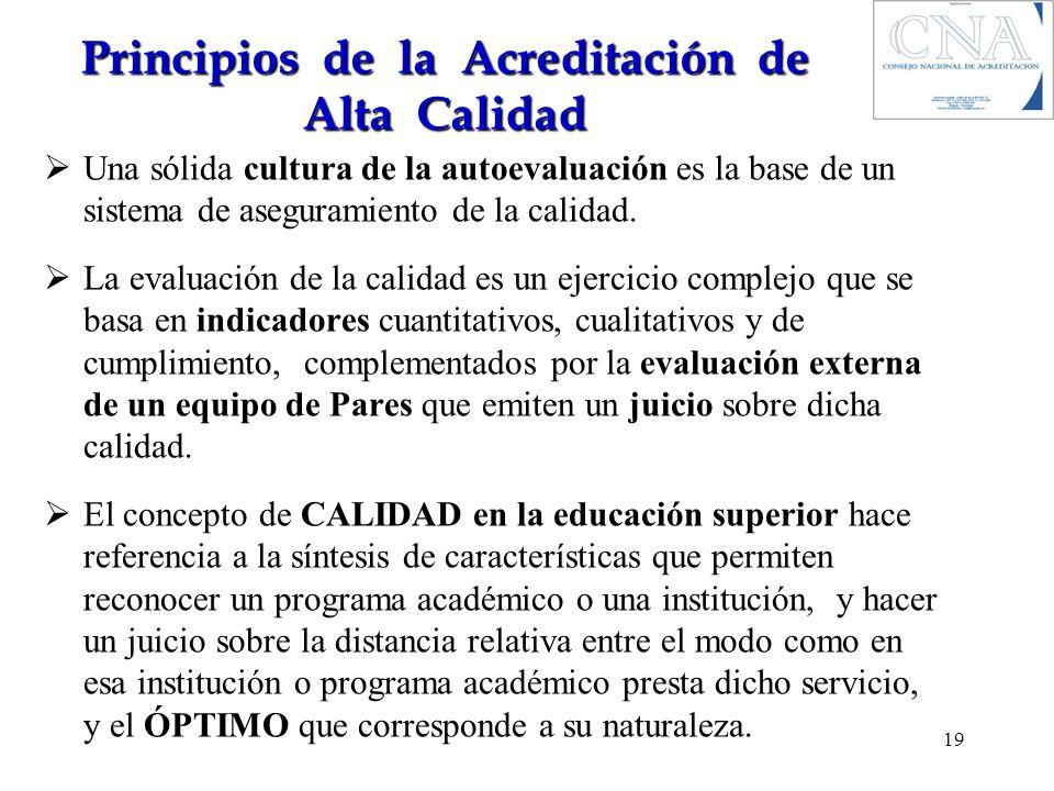 Principios de la Acreditación de Alta Calidad Una sólida cultura de la autoevaluación es la base de un sistema de aseguramiento de la calidad. La eval