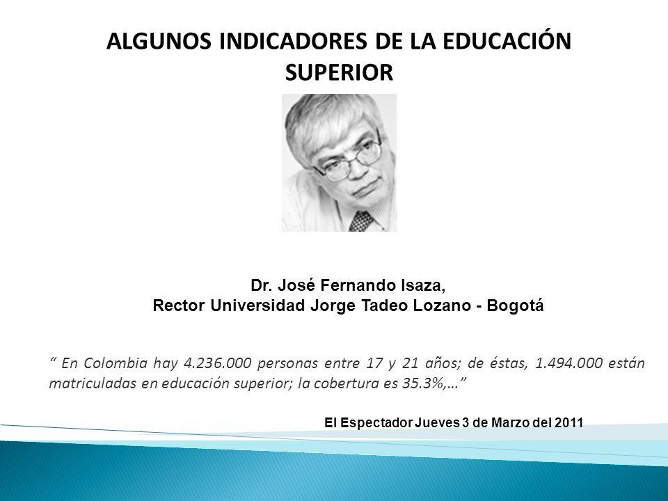 ALGUNOS INDICADORES DE LA EDUCACIÓN SUPERIOR Dr. José Fernando Isaza, Rector Universidad Jorge Tadeo Lozano - Bogotá El Espectador Jueves 3 de Marzo d