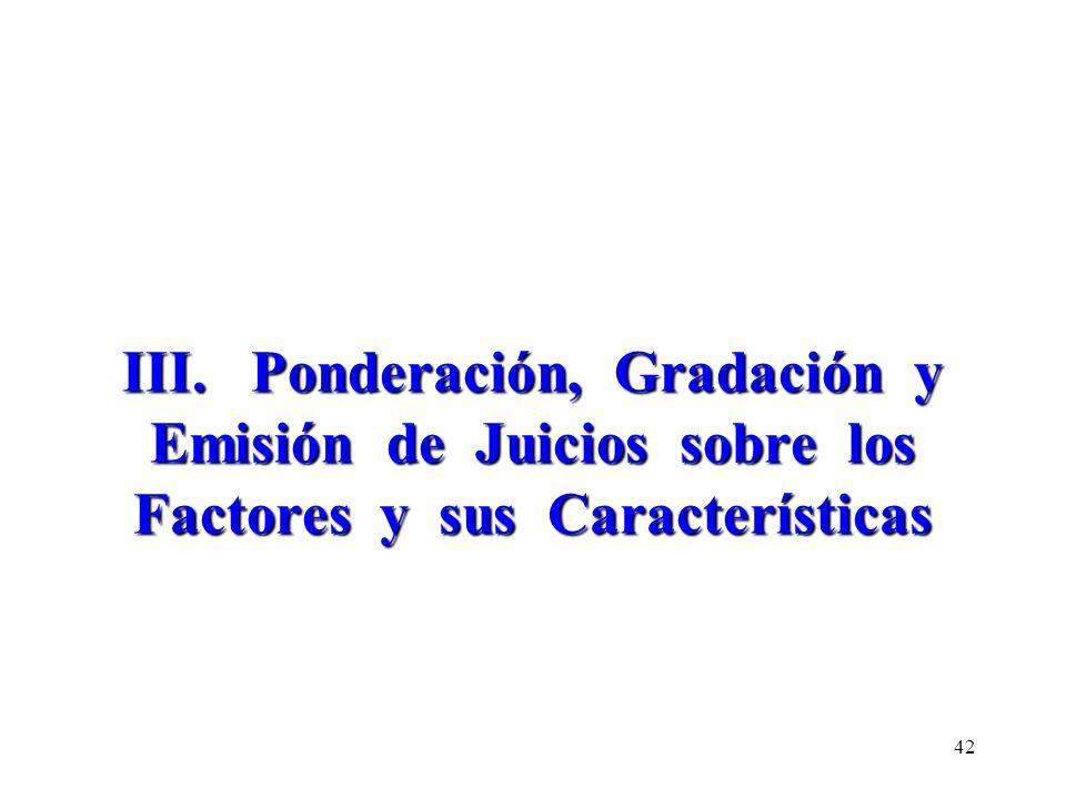 III. Ponderación, Gradación y Emisión de Juicios sobre los Factores y sus Características 42